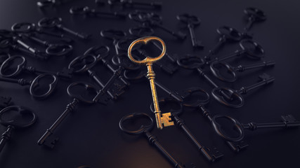 Old metal keys on a black background with the main element. 3d illustration