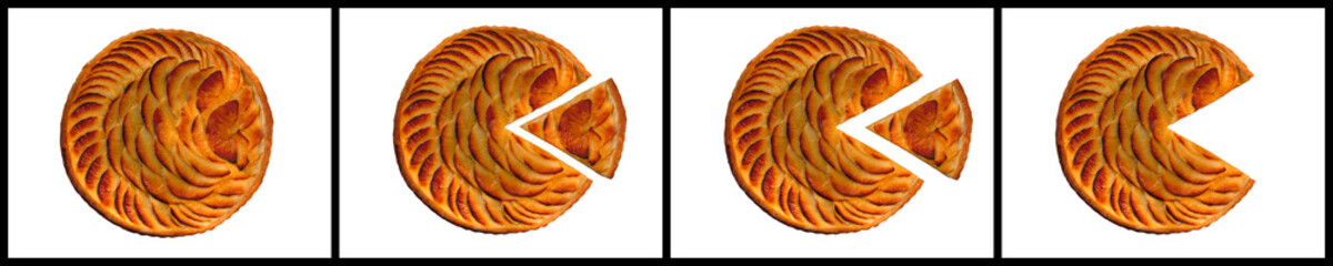 FOUR PICTURE SEQUENCE OF ROUND APPLE PIE WITH TRIANGULAR SLICE