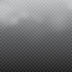 Realistic white clouds or fog on transparent background. Vector