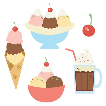 Vector Ice Cream Sundaes with Cherry Illustrations