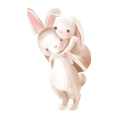Cute watercolor baby boy and girl bunnies hugs