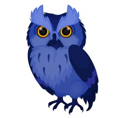 Wise blue owl isolated on white background. Vector cartoon close-up illustration.