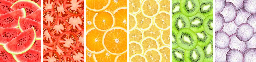 Collection background of sliced orange, watermelon, kiwi, lemon, onion and tomato closeup Wall mural