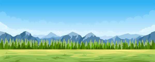 Spoed Fotobehang Blauw Rural summer landscape