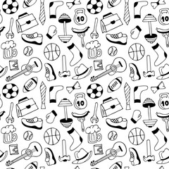 Father's Day banner in doodle style. Men's lifestyle, sports equipment, clothes and accessories seamless pattern.