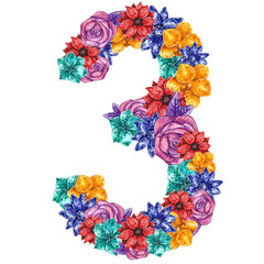 Number shaped flowers: orchid, daisy, rose and passionflower in yellow, purple, blue, turquoise and red colors. Hand drawn watercolor illustration.
