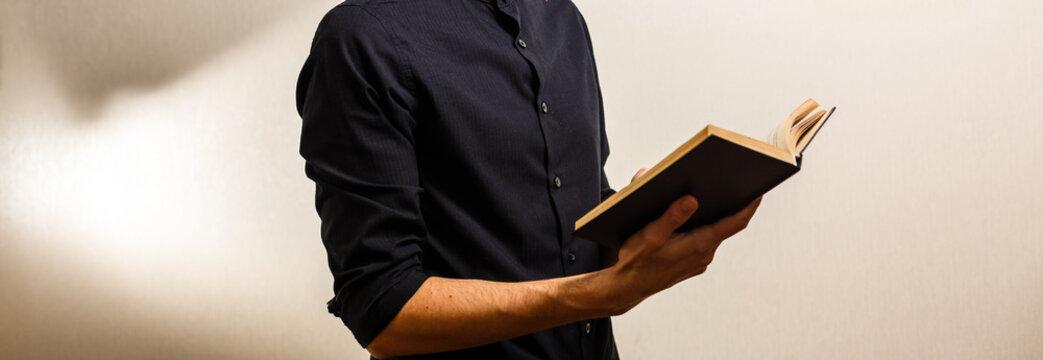 Man Reading bible Book