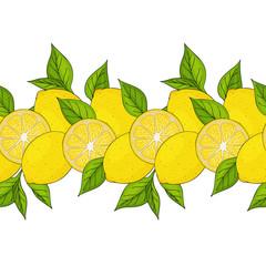 seamless border. yellow lemons and leaves. endless ornament. hand drawn. horisontal. vector illustration.