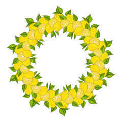 wreath is made from yellow lemons and green leaves. template for your design. form for text. Hand drawn. For packaging, advertisements. Vector illustration.