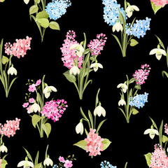 Seamless pattern of siringa and galantus flowers for fabric pattern over black background. Vector illustration.