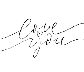 Love you phrase with heart. Vector hand drawn brush style modern calligraphy.