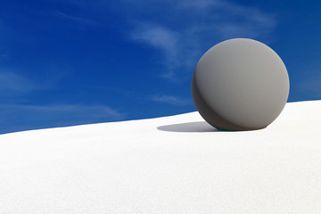 3d rendering of rock bowl on dune