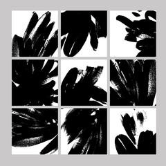 Black paint brushstrokes hand drawn illustrations set