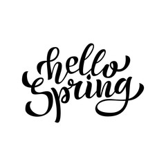 Hello Spring hand Lettering. Vector.