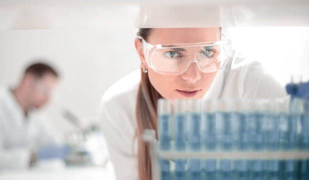 close up.scientist doing research in clinical laboratory.