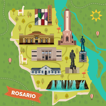 Sightseeing landmarks map of Rosario in Argentina