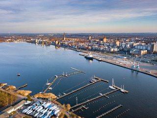 port of rostock, aerial view of rostock, view over the river warnow
