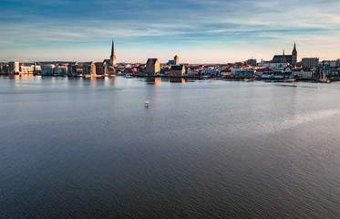 panorama of city of rostock - aerial view shot by a drone