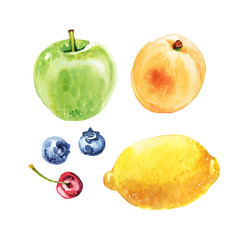 Watercolor hand-painted summer fruit lemon, apple, apricot and berry illustration set on white background