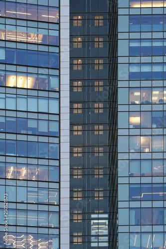 Glass Blue Windows Of Facade Modern City Business Building