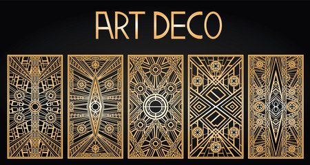 Golden abstract geometric background. Art deco style, trendy vintage design element. Gold grille on a black background. Gold art deco panels. Gatsby style. Set retro pattern Wall mural