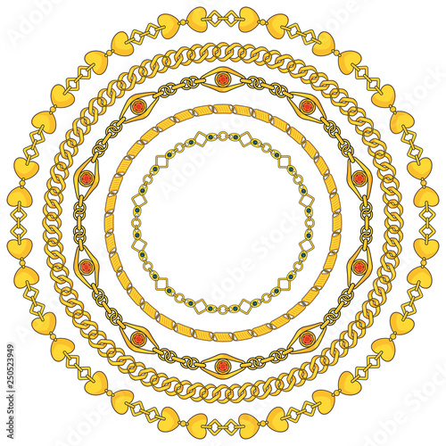 151a084d6650 round frame of figured gold chains set isolated on white background ...