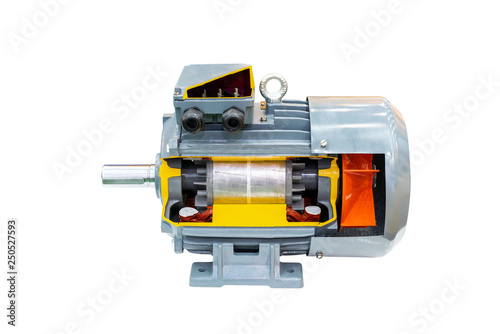 Cross Section Detail Inside Modern Of High Technology Electric Motor Isolated On White Background With Clipping Path