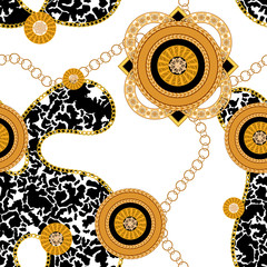 Seamless pattern with golden chains and spotted background. Vector baroque patch for scarfs, print, fabric.