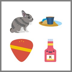 4 small icon. Vector illustration small set. rabbit and ketchup icons for small works