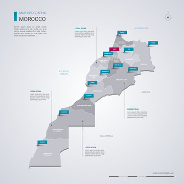 Morocco vector map with infographic elements, pointer marks.