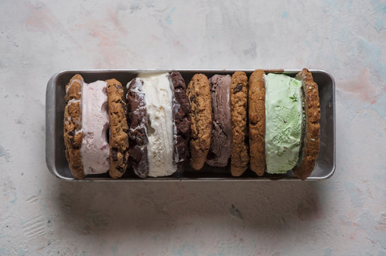 Overhead view of ice cream sandwiches served on plate