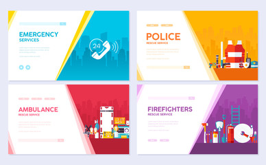 Firefighter, rafting, police, medicine rescue set. Emergency services brochure card set. template of flyear, web banner, ui header, enter site. Layout invintation modern slider