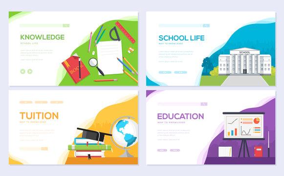 Back to school information brochure card set. Student template of flyear, web banner, ui header, enter site. Layout invintation modern slider