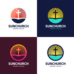 Template logo for churches and Christian organizations cross of Calvary in the sun. Calvary cross church logo.