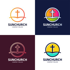 Template logo for churches and Christian organizations cross of Calvary in the sun. Calvary cross church logo.