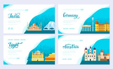 Travel information brochure card set. Landscape country India, Germany, Egypt, Austria of template of flyear, web banner, ui header, enter site. Layout invintation modern