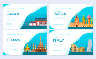 Travel information brochure card set. Landscape country Japan, Russia, Thailand, Italy of template of flyear, web banner, ui header, enter site. Layout invintation modern Wall mural