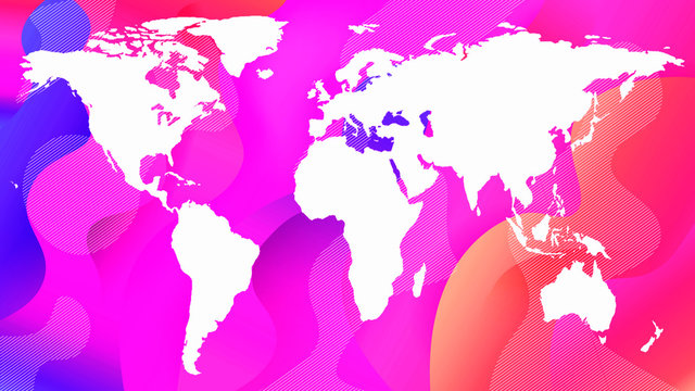 white contour of the planet map on a pink abstract background
