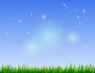 Beautiful summer landscape - blue sky and green grass. vector illustration