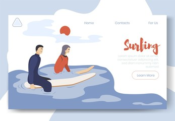 Modern flat cartoon characters doing sport activity, landing page banner web online concept of healthy lifestyle, ready to use design.Flat cartoon people surfing,sporting,waiting for wave