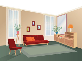 Lliving room interior with furniture: sofa, shelving, table.