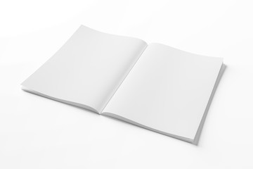 Isolated white open magazine mockup on white 3D rendering