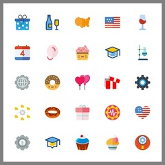 25 celebrate icon. Vector illustration celebrate set. balloons and united states icons for celebrate works