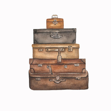 Watercolor suitcases for travel on white.Hand drawn watercolor illustration of Vintage   brown suitcases.