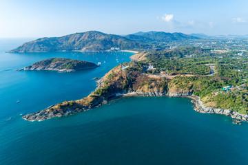 Aerial view drone shot of laem promthep cape,beautiful scenery andaman sea in summer season,phuket thailand