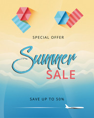 Summer sale banner design. Beach top view background. Promo web banner template for summer sale. Concept of seasonal vacation.