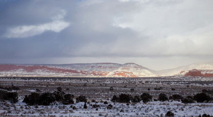 Mountains panorama with sky on the desert winter, New Mexico