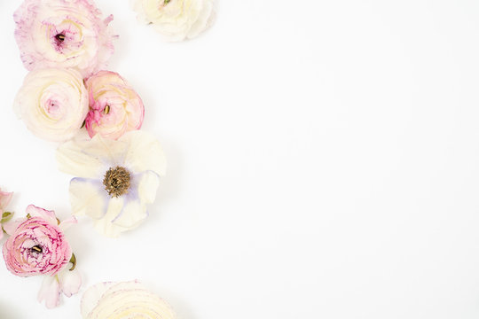 Pink and White Ranunculus Floral Flat Lay Background
