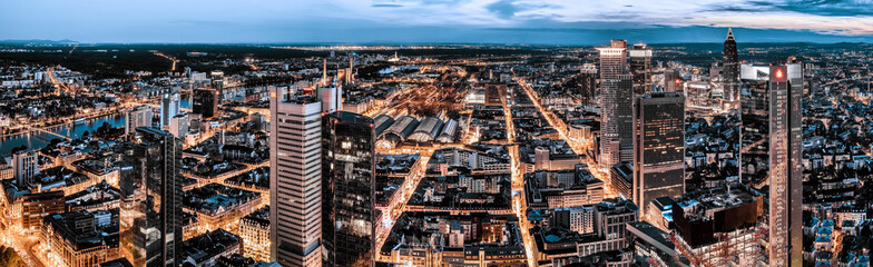 Aerial 180 degrees panorama of Frankfurt. High resolution aerial panoramic view of Frankfurt, Germany at dusk.