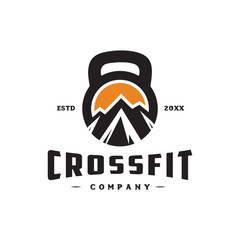 mountain in kettlebell for crossfit logo icon vector template